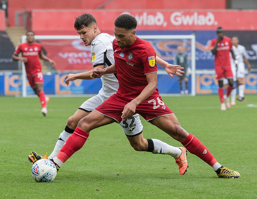 Swansea City's Liam Cullen (left) battles with Bristol City's Zak Vyner (right) <br /> <br /> <br /> Photographer David Horton/CameraSport<br /> <br /> The EFL Sky Bet Championship - Swansea City v Bristol City- Saturday 18th July 2020 - Liberty Stadium - Swansea<br /> <br /> World Copyright © 2019 CameraSport. All rights reserved. 43 Linden Ave. Countesthorpe. Leicester. England. LE8 5PG - Tel: +44 (0) 116 277 4147 - admin@camerasport.com - www.camerasport.com