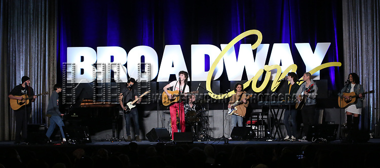 """Brenock O'Connor and cast  from """"Sing Street - A Musical"""" during the BroadwayCON 2020 First Look at the New York Hilton Midtown Hotel on January 24, 2020 in New York City."""