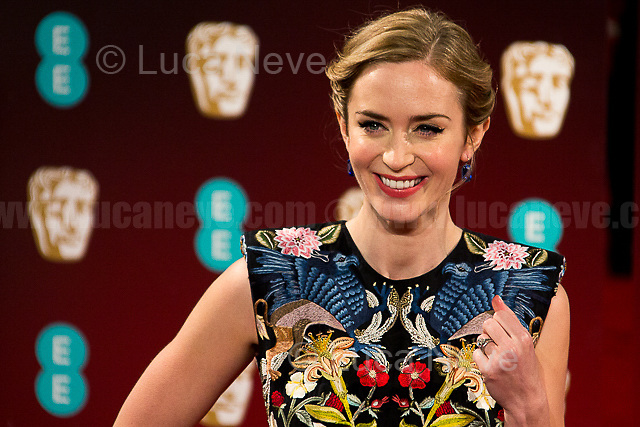 Emily Blunt.<br /> <br /> London, 12/02/2017. Red Carpet of the 2017 EE BAFTA (British Academy of Film and Television Arts) Awards Ceremony, held at the Royal Albert Hall in London.<br /> <br /> For more information please click here: http://www.bafta.org/