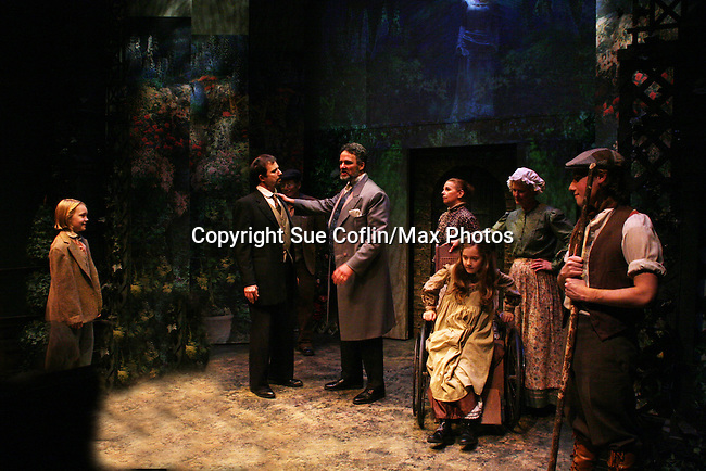 """Charlie Plummer - Sterling Swann - Chris Whipple - Alison Rooney - Isabella Convertino - Cat Guethrie - Zach Fineblum as Philipstown Depot Theatre presents The Secret Garden on November 15, 2009 in Garrison, New York. The musical The Secret Garden is the story of """"Mary Lennox"""", a rich spoiled child who finds herself suddenly an orphan when cholera wipes out the entire Indian village where she was living with her parents. She is sent to live in England with her only surviving relative, an uncle who has lived an unhappy life since the death of his wife 10 years ago. """"Archibald's son Colin"""", has been ignored by his father who sees Colin only as the cause of his wife's death.This is essentially the story of three lost, unhappy souls who, together, learn how to live again while bringing Colin's mother's garden back to life. (Photo by Sue Coflin/Max Photos)...."""