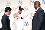 (L-R) David Samson, Ichiro Suzuki, Michael Hil (Marlins), JANUARY 29, 2015 - MLB : Miami Marlins newly signed outfielder Ichiro Suzuki (C), president David Samson (L) and Director of Baseball Operations Michael Hill (R) attend an introductory news conference in Tokyo, Japan. (Photo by Motoo Naka/AFLO)