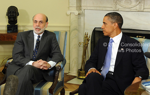 Federal Reserve Board Chairman Ben Bernanke speaks to the media after meeting with United States President Barack Obama in the Oval Office of the White House in Washington on Tuesday, June 29, 2010.    .Credit: Roger L. Wollenberg - Pool via CNP