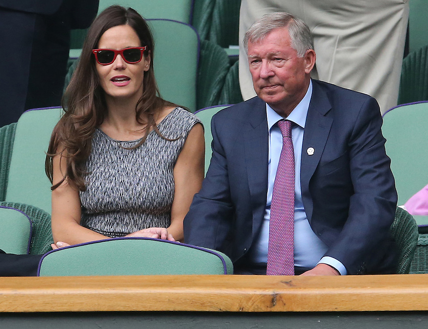 Sir Alex Ferguson look on from the Royal Box on day seven of the Wimbledon<br /> <br /> Photographer Kieran Galvin/CameraSport<br /> <br /> Tennis - Wimbledon Lawn Tennis Championships - Day 7 Monday 30th June 2014 -  All England Lawn Tennis and Croquet Club - Wimbledon - London - England<br /> <br /> &copy; CameraSport - 43 Linden Ave. Countesthorpe. Leicester. England. LE8 5PG - Tel: +44 (0) 116 277 4147 - admin@camerasport.com - www.camerasport.com.