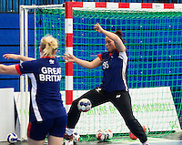 06 APR 2012 - LONDON, GBR - Great Britain's Jane Mayes (GBR) tries to save a shot during a team practice session at the National Sports Centre in Crystal Palace, Great Britain .(PHOTO (C) 2012 NIGEL FARROW)