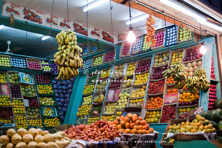 Stalls of fresh fruit in a grocery shop, Quoseir Village, Red Sea, Egypt.