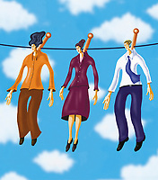 Three business people hanging on a clothesline ExclusiveImage
