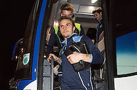 Sam Saunders of Wycombe Wanderers arrives ahead of the Sky Bet League 2 match between Colchester United and Wycombe Wanderers at the Weston Homes Community Stadium, Colchester, England on 21 February 2017. Photo by Andy Rowland / PRiME Media Images.