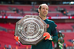 Petr Cech of Arsenal with the Shield after the The FA Community Shield match at Wembley Stadium, London. Picture date 6th August 2017. Picture credit should read: Charlie Forgham-Bailey/Sportimage