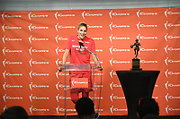 Washington, DC - Sept 19, 2019: Washington Mystics forward Elena Delle Donne (11) receives the WNBA Most Valuable Player award before semi finals match up between the Las Vegas Aces and Washington Mystics at the Entertainment & Sports Arena in Washington, DC. (Photo by Phil Peters/Media Images International)