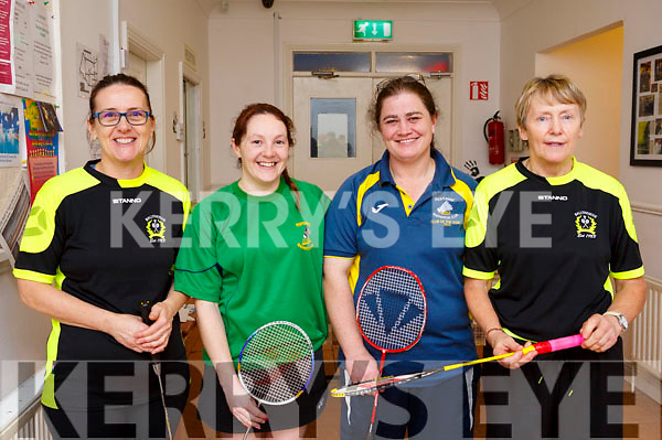 Players attending the Badminton finals in Ballyheigue on Sunday last, l-r, Laura O'Sullivan (Ballyheigue), Charlotte Quinn (Moyvanne), Erin Stack (Moyvanne) and Ann Leahy (Ballyheigue).