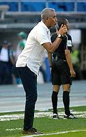 BARRANQUILLA - COLOMBIA - 31 - 03 - 2018: Alexis Mendoza, técnico de Atletico Junior, durante partido de la fecha 12 entre Atletico Junior y Leones F. C., por la Liga Aguila I - 2018, jugado en el estadio Metropolitano Roberto Melendez de la ciudad de Barranquilla. / Alexis Mendoza, coach of Atletico Junior, during a match of the 12th date between Atletico Junior and Leones F. C., for the Liga Aguila I - 2018 at the Metropolitano Roberto Melendez Stadium in Barranquilla city, Photo: VizzorImage  / Alfonso Cervantes / Cont.