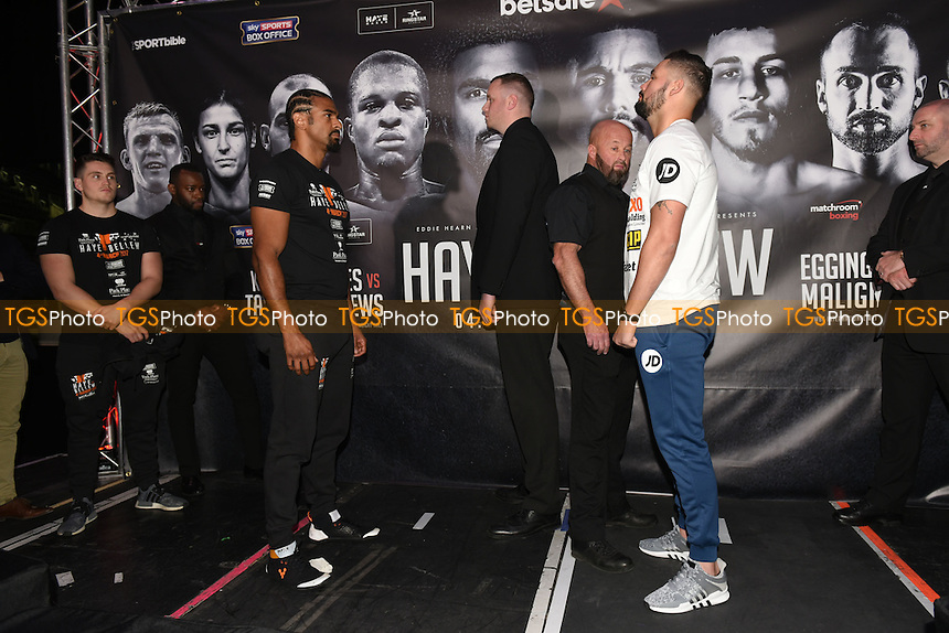David Haye (L) and Tony Bellew during a Matchroom Boxing Press Conference at The O2 on 2nd March 2017