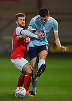 Fleetwood Town's Conor McAleny battles with Accrington Stanley's Ross Sykes<br /> <br /> Photographer Dave Howarth/CameraSport<br /> <br /> Leasing.com Trophy Northern Section Round Three - Fleetwood Town v Accrington Stanley - Tuesday 7th January 2020 - Highbury Stadium - Fleetwood<br />  <br /> World Copyright © 2018 CameraSport. All rights reserved. 43 Linden Ave. Countesthorpe. Leicester. England. LE8 5PG - Tel: +44 (0) 116 277 4147 - admin@camerasport.com - www.camerasport.com
