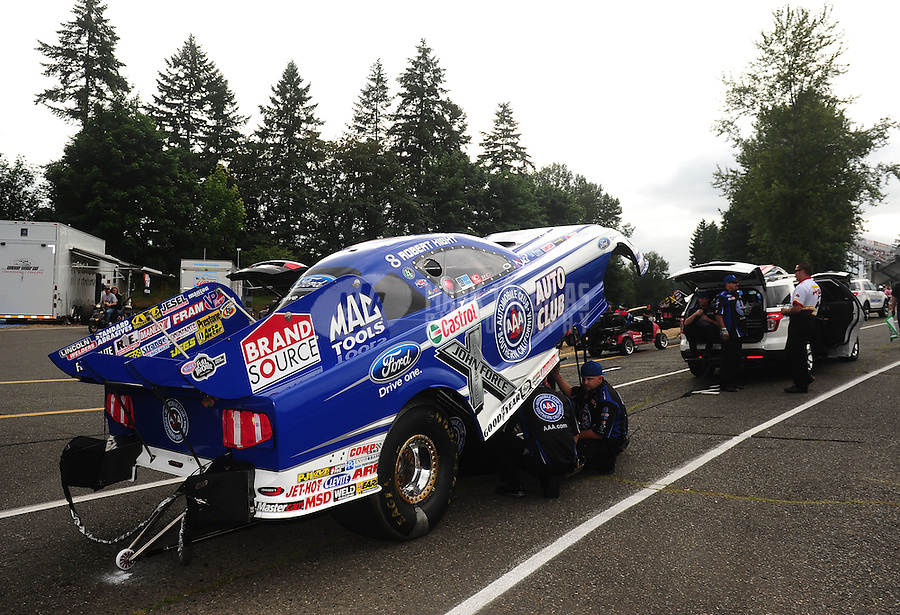 Aug. 5, 2011; Kent, WA, USA; NHRA funny car driver Robert Hight during qualifying for the Northwest Nationals at Pacific Raceways. Mandatory Credit: Mark J. Rebilas-