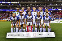 Atlanta, GA - Sunday Sept. 18, 2016: United States Starting Eleven prior to a international friendly match between United States (USA) and Netherlands (NED) at Georgia Dome.