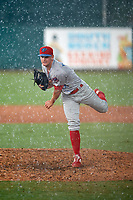 Clearwater Threshers pitcher Zach Warren (33) during a Florida State League game against the Palm Beach Cardinals on August 11, 2019 at Roger Dean Chevrolet Stadium in Jupiter, Florida.  Palm Beach defeated Clearwater 4-1.  (Mike Janes/Four Seam Images)