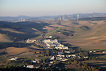 View over countryside and wind turbines from Vejer de la Frontera, Cadiz province, Spain