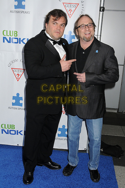 Jack Black, Stephen Stills, Crosby, Stills & Nash.Light Up The Blues Concert –- An Evening of Music Benefiting Autism Speaks at Club Nokia held at Club Nokia, Los Angeles, California, USA, 13th April 2013..full length black tuxedo tux bow tie white shirt hand finger pointing gesture glasses grey gray jacket jeans blazer .CAP/ADM/BP.©Byron Purvis/AdMedia/Capital Pictures