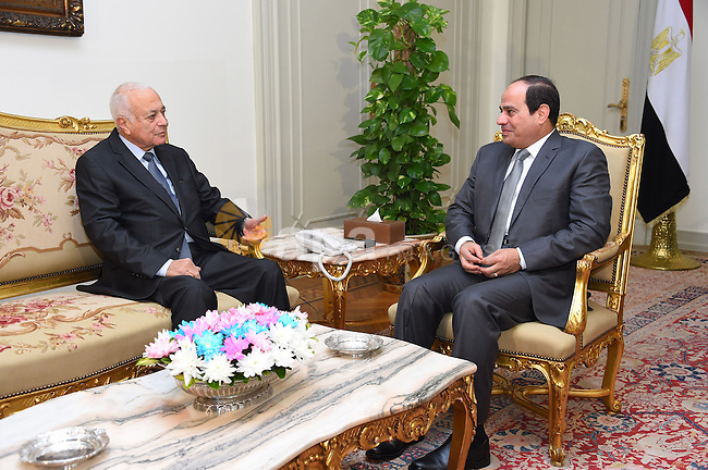 Egyptian President Abdel Fattah el-Sisi meets with Arab League Secretary-General Nabil Elarabi, in Cairo on October 13, 2015. Photo by Egyptian President Office