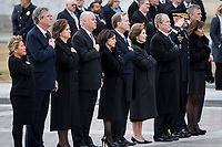 Members of the Bush family look on as the remains of President George H.W. Bush are transported from the U.S. Capitol to the National Cathedral Wednesday December 5, 2018.<br /> CAP/MPI/RS<br /> &copy;RS/MPI/Capital Pictures