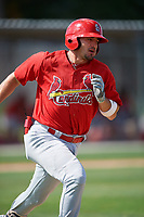 GCL Cardinals first baseman Zack Gahagan (38) runs to first base during a game against the GCL Nationals on August 5, 2018 at Roger Dean Chevrolet Stadium in Jupiter, Florida.  GCL Cardinals defeated GCL Nationals 17-7.  (Mike Janes/Four Seam Images)