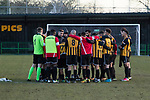 Rushall Olympic 1 Workingon 0, 17/02/2018. Dales Lane, Northern Premier League Premier Division. Rushall players being addressed by Liam McDonald after the final whistle. Photo by Paul Thompson.