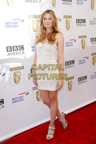 ANNE DUDEK.8th Annual BAFTA LA TV Tea Party at the Hyatt Regency Century Plaza. Los Angeles, CA, USA, August 28, 2010..full length strapless white dress beige sandals print open toe .CAP/CEL/TC.©Tim Copeland/CelPh/Capital Pictures.