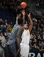 Richard Solomon of California shoots the ball during the game against UC Irvine at Haas Pavilion in Berkeley, California on December 2nd, 2013.  California defeated UC Irvine, 73-56.