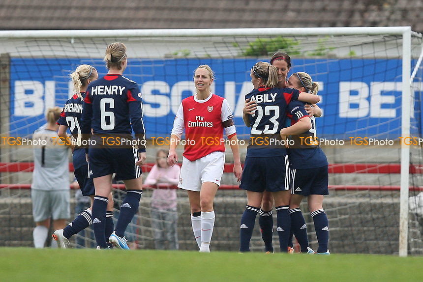 Lyon celebrate their second goal - Arsenal Ladies vs Olympique Lyonnais - UEFA Women's Champions League Semi-Final 2nd Leg at Boreham Wood FC - 16/04/11 - MANDATORY CREDIT: Gavin Ellis/TGSPHOTO - Self billing applies where appropriate - Tel: 0845 094 6026