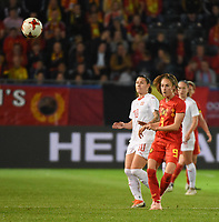 20181005 - LEUVEN , BELGIUM : Belgian Tessa Wullaert (R) and Switzerland's Ramona Bachmann (L)  pictured during the female soccer game between the Belgian Red Flames and Switzerland , the first leg in the semi finals play offs for qualification for the World Championship in France 2019, Friday 5 th october 2018 at OHL Stadion Den Dreef in Leuven , Belgium. PHOTO SPORTPIX.BE | DIRK VUYLSTEKE