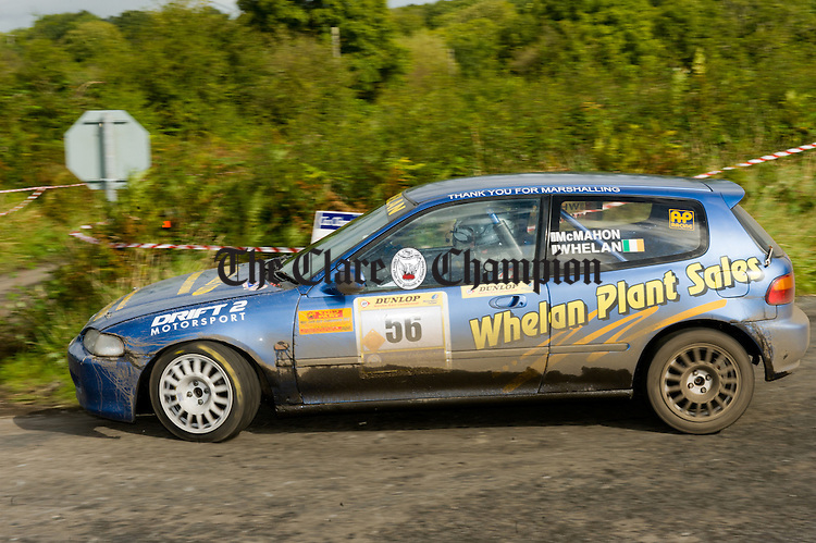 George Whelan of Barefield and navigator Noel Mc Mahon in action during Stage 5 of the Clare Stages Rally at Ballinruan/Crusheen. Photograph by John Kelly.