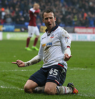 Bolton Wanderers' Adam Le Fondre celebrates scoring his sides first goal <br /> <br /> Photographer Alex Dodd/CameraSport<br /> <br /> The EFL Sky Bet League One - Bolton Wanderers v Northampton Town - Saturday 18th March 2017 - Macron Stadium - Bolton<br /> <br /> World Copyright &copy; 2017 CameraSport. All rights reserved. 43 Linden Ave. Countesthorpe. Leicester. England. LE8 5PG - Tel: +44 (0) 116 277 4147 - admin@camerasport.com - www.camerasport.com