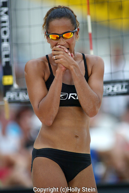 Jenny Johnson Jordan reacts during the AVP Las Vegas Open.