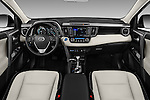 Stock photo of straight dashboard view of 2018 Toyota RAV4 Hybrid-Limited-4x4 5 Door SUV Dashboard