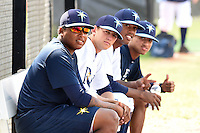 GCL Rays Jose Alvarado, Bret Dahlson, Joselito Cano, and Junior Felix (L-R) in the dugout before a game against the GCL Red Sox on June 24, 2014 at Charlotte Sports Park in Port Charlotte, Florida.  GCL Red Sox defeated the GCL Rays 5-3.  (Mike Janes/Four Seam Images)