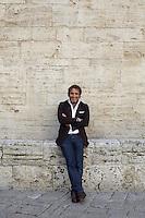 Antonello Radi in Foligno near his apartment in a 16th century palazzo