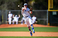 South Dakota State Jackrabbits shortstop Gus Steiger (3) throws to first base during a game against the FIU Panthers on February 23, 2019 at North Charlotte Regional Park in Port Charlotte, Florida.  South Dakota State defeated FIU 4-3.  (Mike Janes/Four Seam Images)