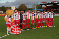 Stevenage players observe a one minute silence for Armistice Day during Stevenage vs Notts County, Sky Bet EFL League 2 Football at the Lamex Stadium on 11th November 2017