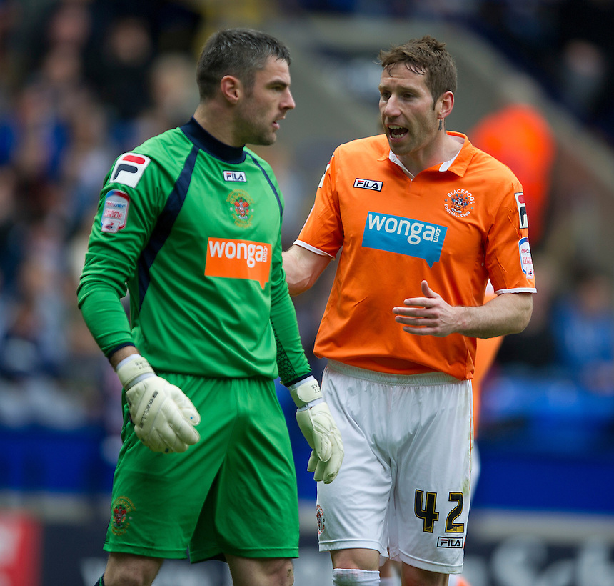 Blackpool's goalkeeper Matthew Gilks and Kirk Broadfoot .. - (Photo by Stephen White/CameraSport) - ..Football - npower Football League Championship - Bolton Wanderers v Blackpool - Saturday 4th May 2013 - Reebok stadium - Bolton..© CameraSport - 43 Linden Ave. Countesthorpe. Leicester. England. LE8 5PG - Tel: +44 (0) 116 277 4147 - admin@camerasport.com - www.camerasport.com