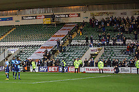Wycombe players clap their travelling fans at full time of the Sky Bet League 2 match between Plymouth Argyle and Wycombe Wanderers at Home Park, Plymouth, England on 26 December 2016. Photo by Mark  Hawkins / PRiME Media Images.