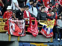 BOGOTÁ-COLOMBIA, 12-01-2020: Hinchas de América de Cali, animan a su equipo, durante partido entre Millonarios y América de Cali, por el Torneo ESPN 2020, jugado en el estadio Nemesio Camacho El Campin de la ciudad de Bogotá. / Fans of America de Cali, cheer for their team during a match between Millonarios and America de Cali, for the ESPN Tournament 2020, played at the Nemesio Camacho El Campin stadium in the city of Bogota. Photo: VizzorImage / Luis Ramírez / Staff.