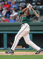 April 19, 2009: Outfielder Isaac Galloway (27) of the Greensboro Grasshoppers, Class A affiliate of the Florida Marlins, in a game against the Greenville Drive at Fluor Field at the West End in Greenville, S.C. Photo by: Tom Priddy/Four Seam Images