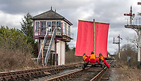 BNPS.co.uk (01202 558833)<br /> Pic: PhilYeomans/BNPS<br /> <br /> Phil and his team make the most of the fluctuating winds across the Midland Railway near Butterley in Derbyshire.<br /> <br /> To Hull and back...eccentric Inventor Phil Mathison has recreated the almost forgotten 'Spurn Landship'.<br /> <br /> Railway enthusiast Phil Mathison, 68, has researched and rebuilt the sail powered Spurn Landship, which once ferried people out along the windswept Spurn Peninsula east of Hull between the wars.<br /> <br /> The original 13 ft landship, made up of a large sail mounted on a wheeled trolley (bogie), could travel at a hair-raising 40mph. <br /> <br /> Mr Mathison, a retired economist, has been assisted on the four year project by his wife Mary, 68, and their Norwegian friend Torkel Larsen, 51. The trio have dubbed themselves the 'Spurnfleet Command' and wear astronaut-like uniforms.<br /> <br /> Despite exhaustive trials Phil and his team have only attained a top speed of 6mph so far, mainly due to fluctuating wind conditions on the test track in Derbyshire.