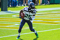 Seattle Seahawks cornerback Richard Sherman (25) during a National Football League game against the Green Bay Packers on September 10, 2017 at Lambeau Field in Green Bay, Wisconsin. Green Bay defeated Seattle 17-9. (Brad Krause/Krause Sports Photography)