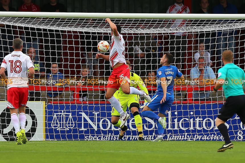 Nathan Thomas of Hartlepool United (7) scores the first goal for his team and celebrates during Stevenage vs Hartlepool United, Sky Bet EFL League 2 Football at the Lamex Stadium on 3rd September 2016