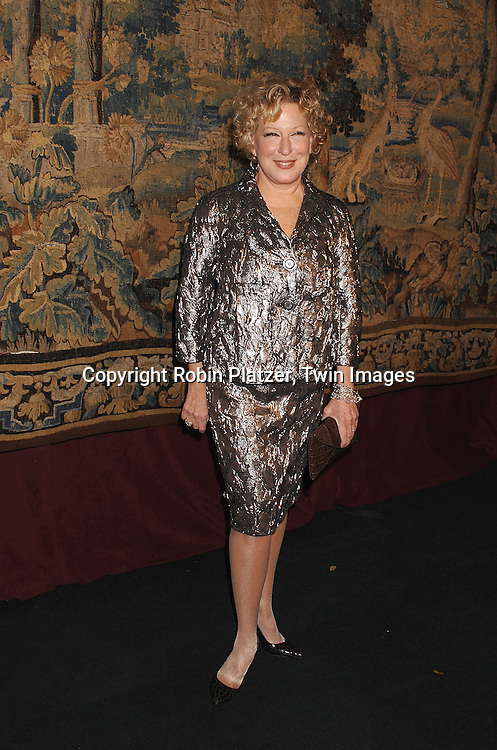 Bette Midler..arriving at The 7th on Sale Black Tie Gala Dinner on ..November 15, 2007 at The 69th Regiment Armory in New York. The Fashion Industry's Battle Against HIV and AIDS..will benefit...Robin Platzer, Twin Images
