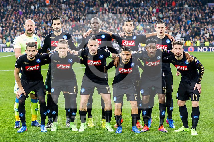 Jose Manuel Reina, Elseid Hysaj, Jose Maria Callejon, Dries Mertens, Marek Hamsik, Piotr Zielinski, Lorenzo Insigne, Kalidou Koulibaly, Faouzi Ghoulam, Raul Albiol and Amadou Diawara during the match of Champions League between Real Madrid and SSC Napoli  at Santiago Bernabeu Stadium in Madrid, Spain. February 15, 2017. (ALTERPHOTOS)