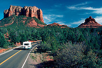 """Cathedral and Bell Rock in """"Red Rock Country"""" with RV on road, Sedona, Arizona"""