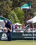 Tony Romo hits a chip shot on the 18th hole during the ACC Golf Tournament at Edgewood Tahoe Golf Course in South Lake Tahoe on Sunday, July 14, 2019.