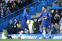 Eden Hazard celebrates scoring Chelsea's opening goal with N'Golo Kante during Chelsea vs Wolverhampton Wanderers, Premier League Football at Stamford Bridge on 10th March 2019